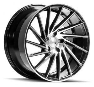 1AV ZX1 Black Polished Face Multi spoke Alloy Wheel
