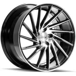 1AV ZX1 Black Polished Face Multi spoke Alloy Wheel