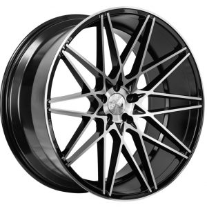 1AV ZX4 Black Polished Face multi spoke alloy wheel