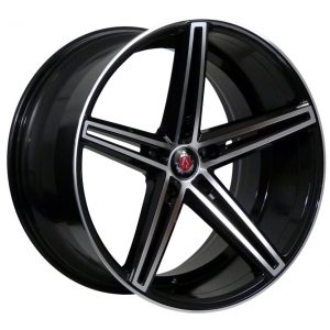 AXE EX14 Black Polished Face 5 spoke alloy wheel
