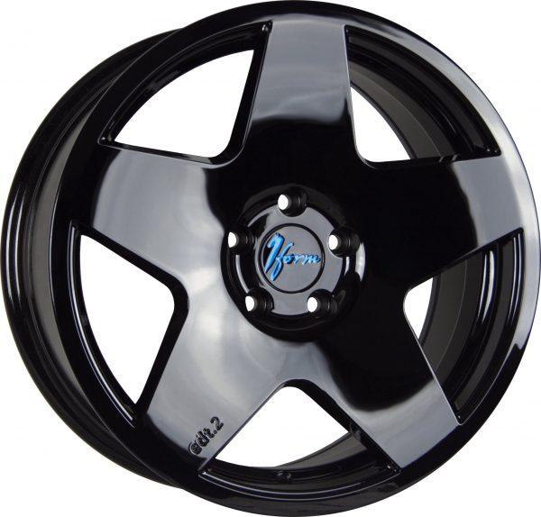 1Form Edition 2 Liquid Black Blue Logo Cap Edition.2 EDT.2 5 spoke alloy wheel