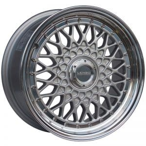 Lenso BSX Silver classic mesh alloy wheel Front