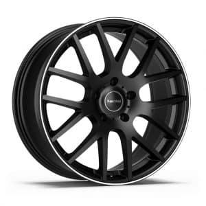 Supermetal Trident Matt Black Polished Rim Y spoke alloy wheel 1