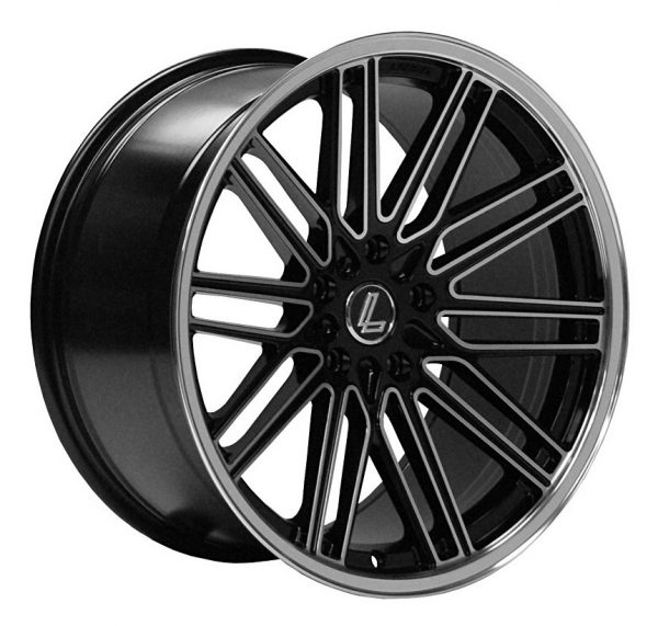 Lenso OP7 Gloss Black Polished Face twin spoke multi spoke alloy wheel