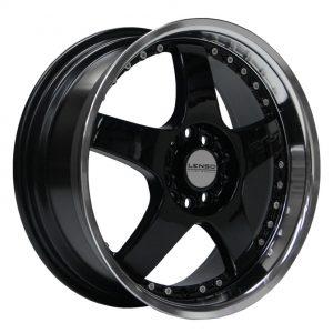 Lenso RS5 Gloss Black Mirror Lip 5 spoke alloy wheel