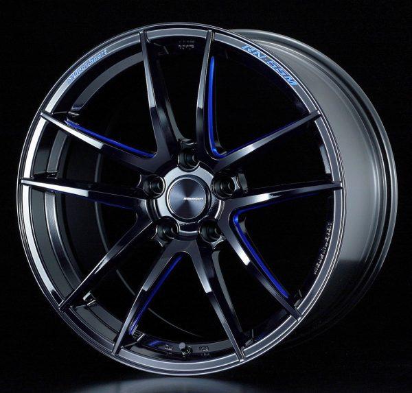 Weds Sport RN55M Black Blue Machine Face FR lightweight alloy wheel