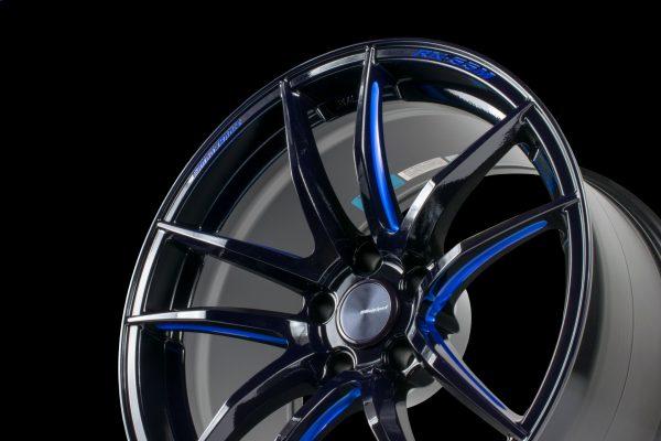 Weds Sport RN55M Black Blue Machine Showcase 1 lightweight alloy wheel