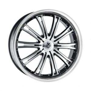 Wolf Design Vermont Black Polished Face and Rim angled 1024 alloy wheel