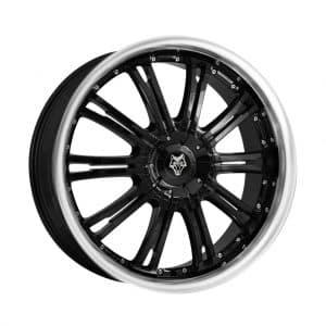 Wolf Design Vermont Gloss Black Polished Rim angled 1024 alloy wheel
