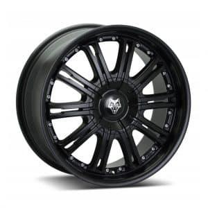 Wolf Design Vermont Matt Black Silver Rivets angled 1024 alloy wheel