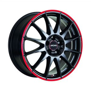 Ronal R54 Jetblack Red Rim angle 2000