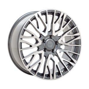 Velare VLR01 Platinum Grey Polished Face angle 1 alloy wheel