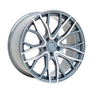 Velare VLR08 Platinum Grey Polished Face angle 1 alloy wheel