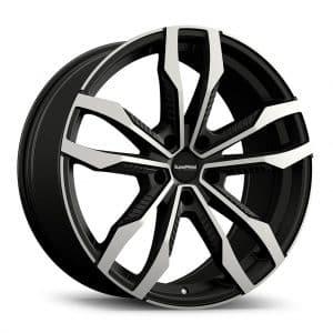 Supermetal Fin Matt Black Polished angle 1 alloy wheel