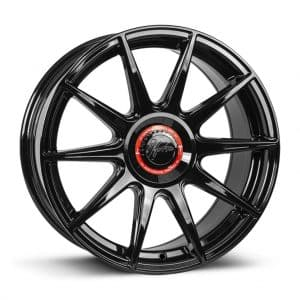 1Form Edition.3+ Gloss Black and Red Centre Band Edition 3+ EDT.3+ alloy wheel