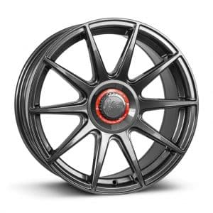 1Form Edition.3+ Gloss Graphite and Red Centre Band Edition 3+ EDT.3+ alloy wheel